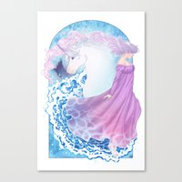 the last unicorn Canvas Prints featuring Last Unicorn by Roots-Love