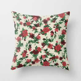 Roses with snow Throw Pillow
