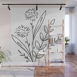 Line Art of Flowers 2 Wall Mural