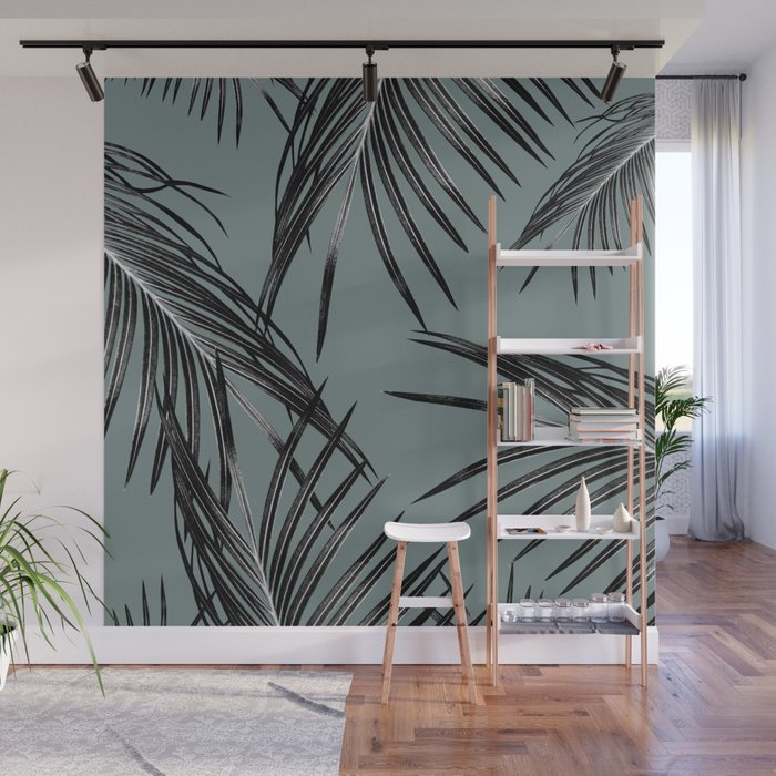 Black Palm Leaves Dream #4 #tropical #decor #art #society6 Wall Mural
