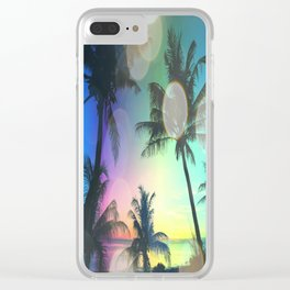 Summer Dreams : Pastel Palm Trees Clear iPhone Case