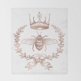 Queen Bee in Rose Gold Pink Throw Blanket