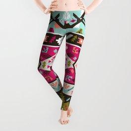 Fancy abstract geometric pattern in tribal style Leggings