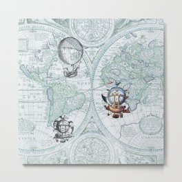 Hot Air Balloons on Antique Map - blue Metal Print