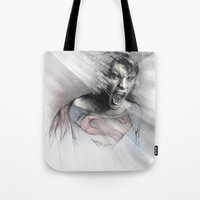 superheroes Tote Bags featuring Superheroes SF by Alexis Marcou