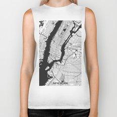 New York Map Gray Biker Tank