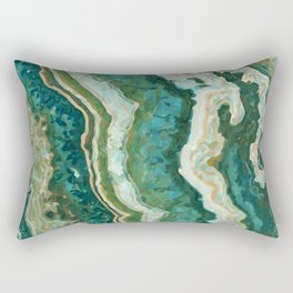 Blue Green Onyx Marble Abstract Vector Art Rectangular Pillow