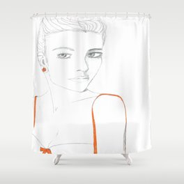 Portrait of Girl with Orange Shower Curtain
