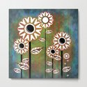Retro flowers in brown and blue by hereswendy