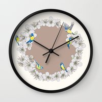 tits Wall Clocks featuring Blue Tits and Blossoms by Hannah Ramus