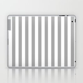 Grey and White Vertical Stripes Laptop & iPad Skin