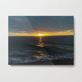 Sunset in La Perla, beach in Mar del Plata Metal Print