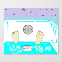 A Relaxing Warm Bubble Bath with Painted Toenails Canvas Print