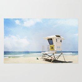 California Beach Photography, Lifeguard Stack Shack San Diego, Coastal Photograph Rug