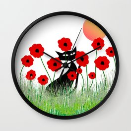 Whimsical Black Cat and Red Poppies Wall Clock