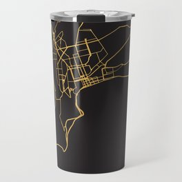 BAKU AZERBAIJAN GOLD ON BLACK CITY MAP Travel Mug