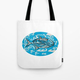 Giant Trevally Side Oval Tribal Art Tote Bag