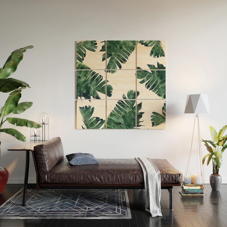 Banana leaf watercolor society6 buy decor wood wall art by 83oranges