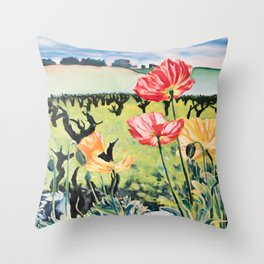 Bright Poppies Throw Pillow