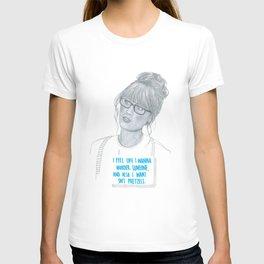 Illustration Zooey Deschanel 'Murder + Pretzels' T-shirt