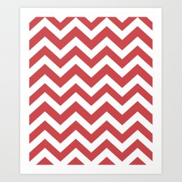 English vermillion - pink color -  Zigzag Chevron Pattern Art Print