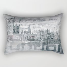 Urban-Art LONDON Houses of Parliament and Red Buses I Rectangular Pillow