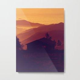 Monochrome Ombre Sunset Purple Orange Hues Cabin House by the Ocean Cliffs Metal Print