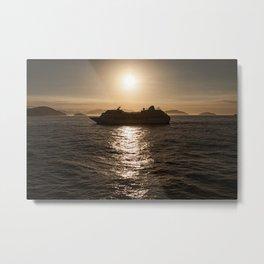 Cruise ship at sunset Metal Print