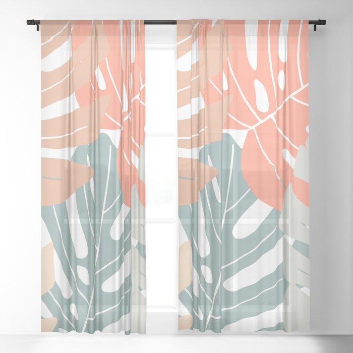 Monstera deliciosa Sheer Curtain