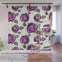 Hand drawn purple roses Wall Mural