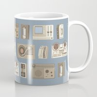 technology Mugs featuring Obsolete Technology by Daniel long Illustration