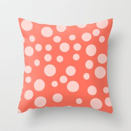 Living Coral Polka Dot Party Throw Pillow