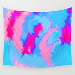 Girly Pink and Blue Abstract Digitized Watercolor Wall Tapestry