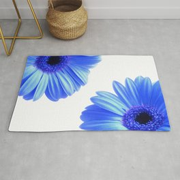 Blue Gerbera Flowers Rug
