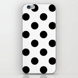 Large Polka Dots - Black on White iPhone Skin