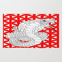 fierce Area & Throw Rugs featuring fierce snake by Dal Sohal