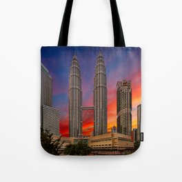 Petronas Towers Sunset Tote Bag
