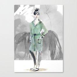 Woman in Green Coat Canvas Print