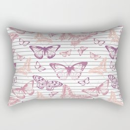 Minimal Black and White Stripes and Rose Gold Butterflies Rectangular Pillow