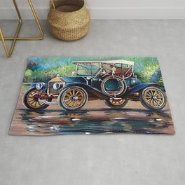 Old auto, retro car, oil paintings Rug