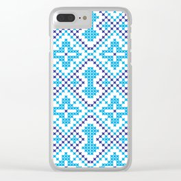 Blue embroidery pattern Clear iPhone Case