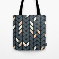 knitting Tote Bags featuring Knitting by hank