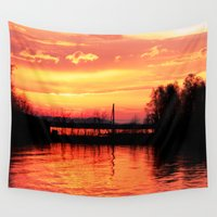 russia Wall Tapestries featuring Sunset on the Lake, Russia by Svetlana Korneliuk