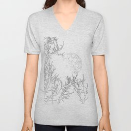 winter moon and trees Unisex V-Neck