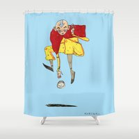 airbender Shower Curtains featuring The Airbender by Kassia M. K.