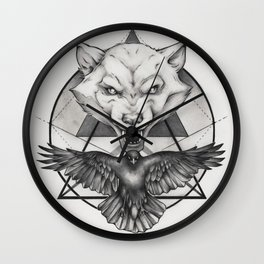 Wolf and Crow - Emblem Wall Clock