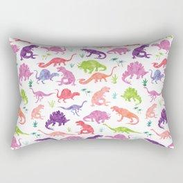 Watercolor Dinosaur Silhouette Pattern Purple Pink Green Rectangular Pillow
