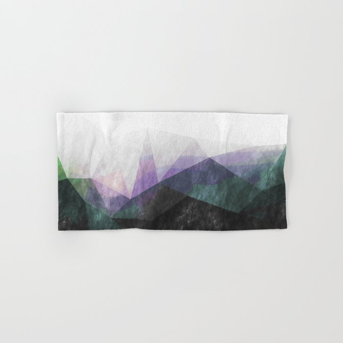 On the mountains- green watercolor - triangle pattern Hand & Bath Towel