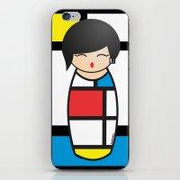 mondrian iPhone & iPod Skins featuring Kokeshi Mondrian by Pendientera