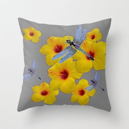 BLUE DRAGONFLIES YELLOW HIBISCUS GREY Throw Pillow